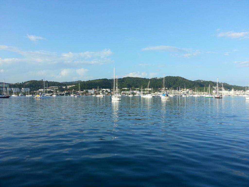 Otroliga mängder båtar i Le Marin...
